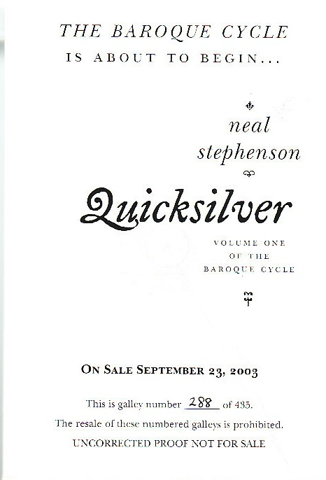 The Baroque Cycle (Quicksilver, the Confusion, The System of the World). Neal STEPHENSON.